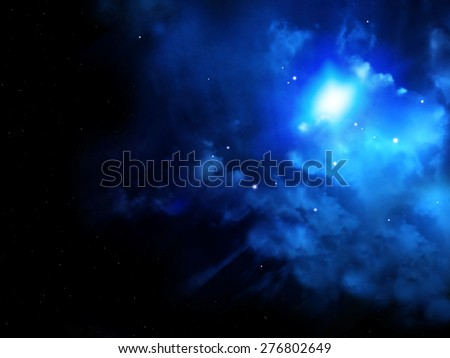 A beautiful space scene with stars and nebula of blue color - stock photo