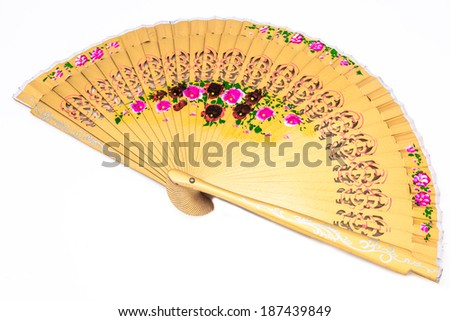 A beautiful spanish fan on a white background - stock photo