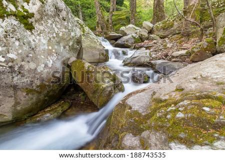 A beautiful stream on Pelion mount near Zagora village, Greece - stock photo