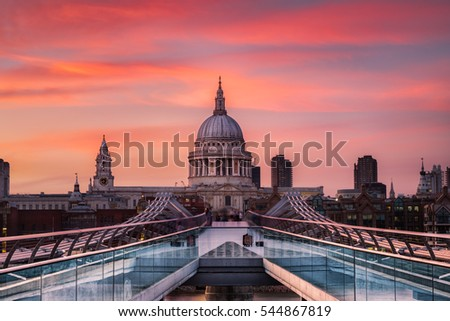 A beautiful summer's sunset behind the iconic dome of St. Paul's Cathedral.