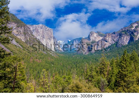 A Beautiful Summer Vista of El Capitan in Yosemite National Park - stock photo