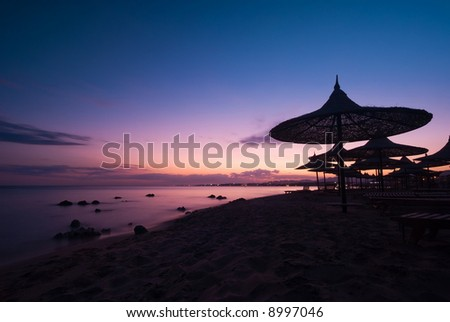 a beautiful sunset in sharm el sheikh, egypt - stock photo