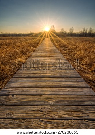 A  beautiful sunset scene along a  wood boardwalk with the boardwalk leading right into the setting sun. Find this boardwalk at Irwin Prairie State Nature Preserve in Northwest Ohio. - stock photo