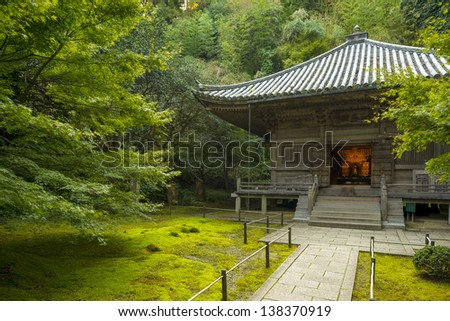 A Beautiful Temple surrounded by moss and lush gardens at Entsuin in Matsushima, Japan - stock photo