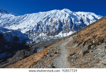 A beautiful trail to the lake Tilicho in Nepal - stock photo