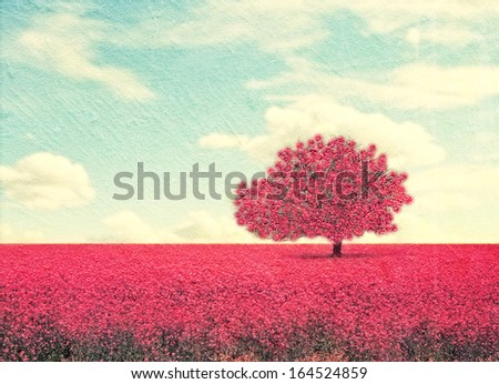 a beautiful tree in a pretty field - stock photo