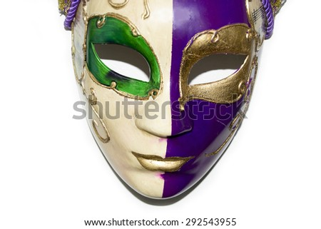A beautiful two-faced venetian mask on a white background wallpaper (italy, style, pokerface) - stock photo