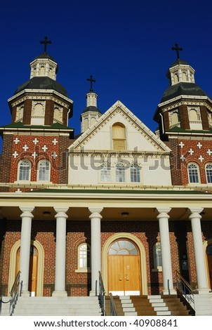 A beautiful ukrainian catholic cathedral in city Edmonton, Alberta, Canada - stock photo
