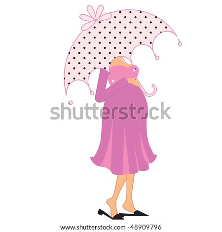a beautiful vector illustration of a pregnant woman under Umbrella