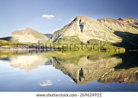 A beautiful view at Glacier National Park - stock photo