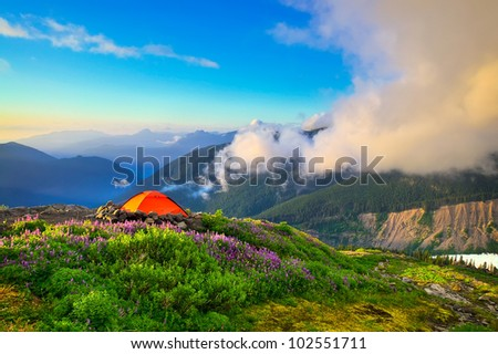 A Beautiful View from a Campsite in the Washington Cascades - stock photo
