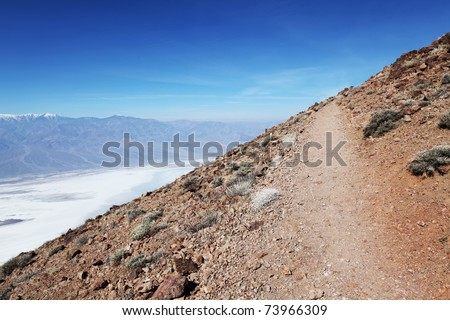 A beautiful view from diagonal mountain slope - stock photo