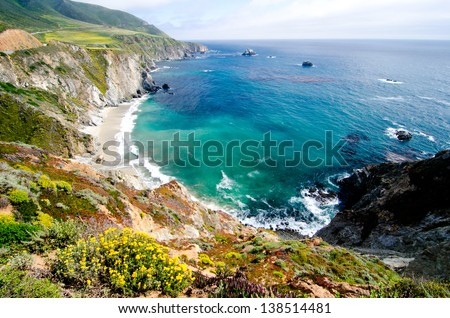 A beautiful view of California's coastline along California State Route 1, one of the most famous and spectacular drives in the United States. - stock photo