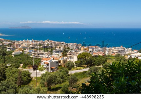 A beautiful view of Chania city from above, Crete island, Greece - stock photo