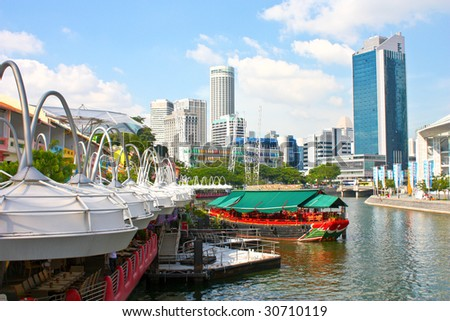 A beautiful view of Clark quay in Singapore, one of the place that experiences the most number of tourist. - stock photo