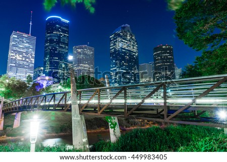 A beautiful view of downtown Houston USA in summer night - stock photo