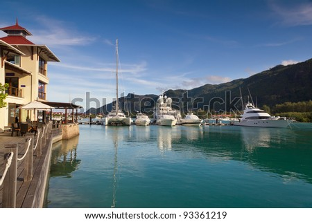 A beautiful view of marina at Eden Island, Seychelles