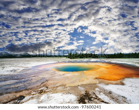 A beautiful view of midway geyser - stock photo