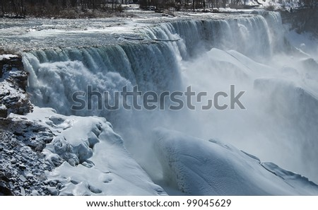 A Beautiful View of Niagra Falls During Winter - stock photo