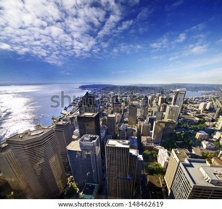 A beautiful view of seattle downtown from columbia tower - stock photo