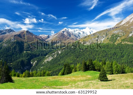 a beautiful view of the austrian alps - stock photo
