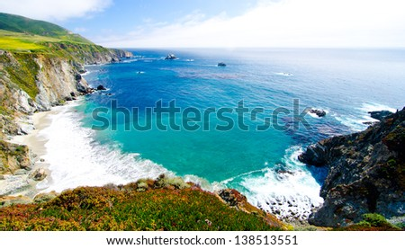 A Beautiful View of the California Coastline along State Road 1. - stock photo