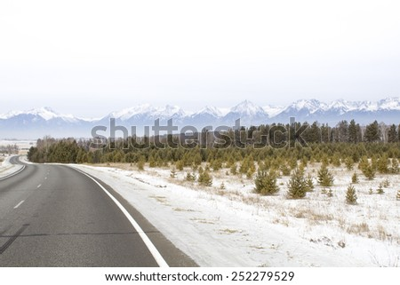 A beautiful view of the Sayan mountains at Tunkinskaya Valley - the birthplace of Irkut river. A scenic view with winter forest and young pine trees. - stock photo