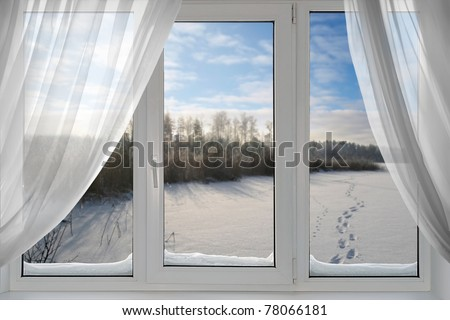 A beautiful view of winter from the window - stock photo