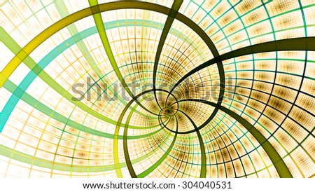 A beautiful wallpaper with a spiral with decorative tiles, all in bright vivid cyan,green,yellow - stock photo
