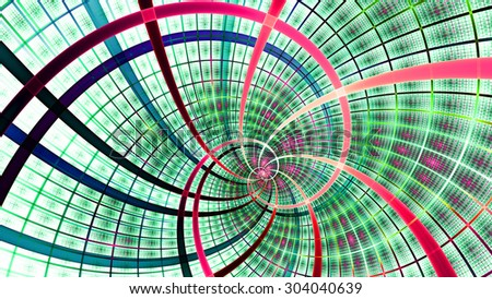 A beautiful wallpaper with a spiral with decorative tiles, all in bright vivid green,blue,pink,red - stock photo