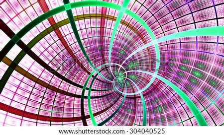A beautiful wallpaper with a spiral with decorative tiles, all in bright vivid pink,purple,cyan,green - stock photo