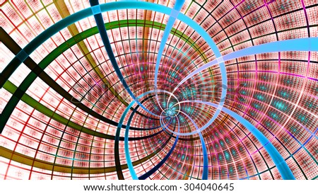 A beautiful wallpaper with a spiral with decorative tiles, all in bright vivid pink,red,blue - stock photo
