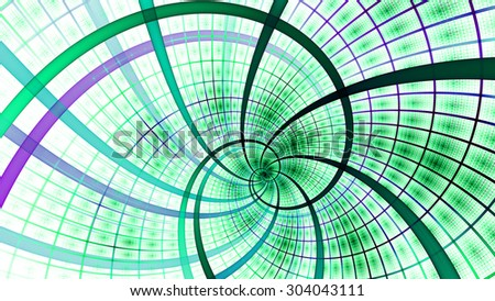 A beautiful wallpaper with a spiral with decorative tiles, all in vivid pastel green,pink - stock photo