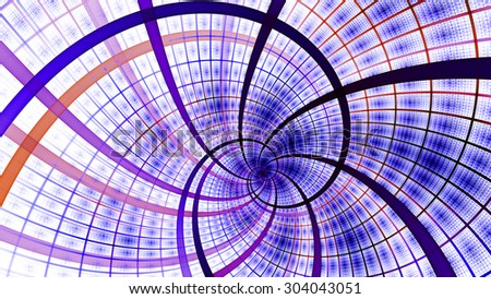 A beautiful wallpaper with a spiral with decorative tiles, all in vivid pastel pink,purple,red - stock photo