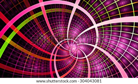 A beautiful wallpaper with a spiral with decorative tiles, all in vivid shining pink,red,green - stock photo