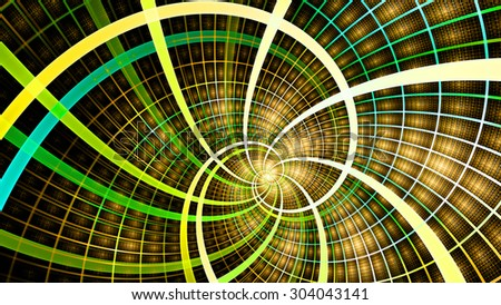 A beautiful wallpaper with a spiral with decorative tiles, all in vivid shining yellow,green,orange,teal - stock photo