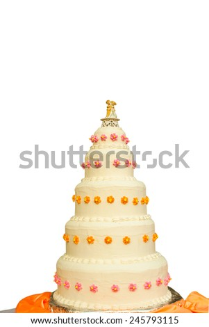A beautiful wedding cake isolated on a white background.
