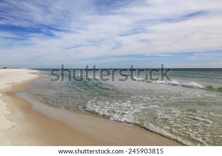 A Beautiful White Sand Florida Beach - stock photo
