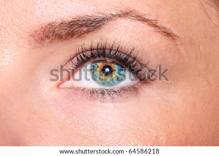 A Beautiful woman eyes close up - stock photo