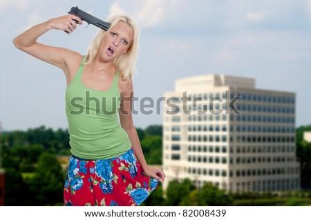 Robber Holding Gun Holding a Gun to Her Head