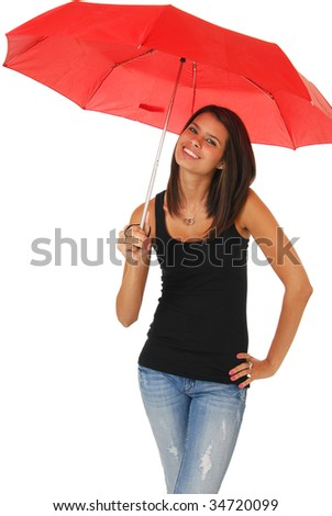 A beautiful woman holding a red umbrella against a white background