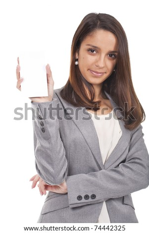 a beautiful woman holding an empty card - stock photo
