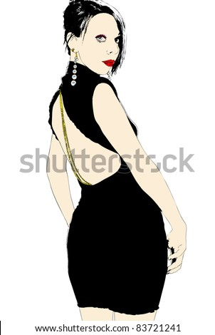 A beautiful woman in an elegant evening dress - stock photo