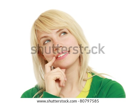 A beautiful woman is thinking and looking upwards - on white background - stock photo