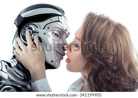A beautiful woman kissing male robot with love. Two faces very close to each other. Relationship between artificial cyborg and real girl. Closeup portrait of futuristic couple. - stock photo