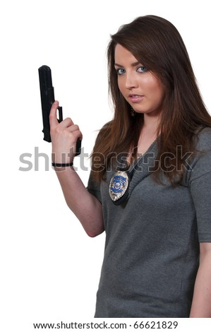 A beautiful woman police detective - stock photo