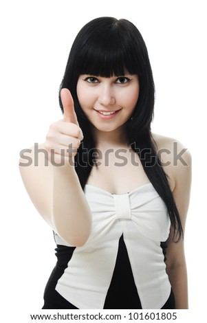 A beautiful woman showing okay gesture on a white background.