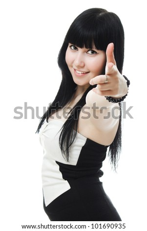 A beautiful woman shows you gesture on a white background.