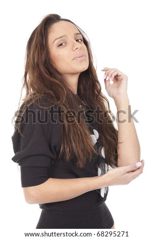a beautiful woman suffering from pain in the elbow - stock photo