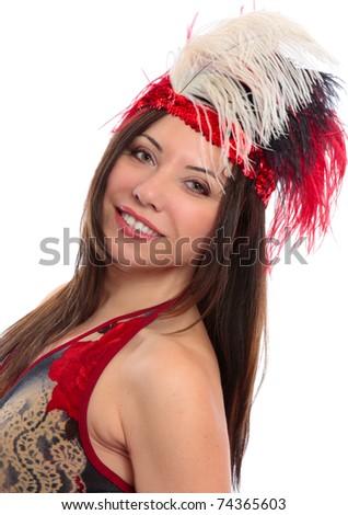 A beautiful woman wearing decorative headdress - stock photo